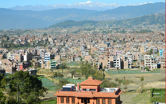 4. Bhaktapur Paradise Hotel Outside & Bhaktapur City View From Top